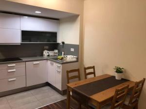 A kitchen or kitchenette at Velence Wellness Apartman