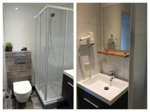 A bathroom at Nicolette Apartments