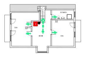Načrt razporeditve prostorov v nastanitvi Slovenia Resort apartments & rooms
