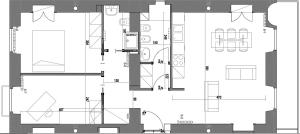 The floor plan of Piazza Vittorio Suites