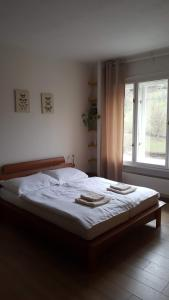 A bed or beds in a room at Hellichova Apartment
