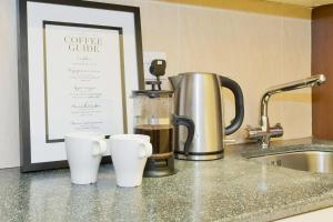 Coffee and tea-making facilities at Five Lamps Suites