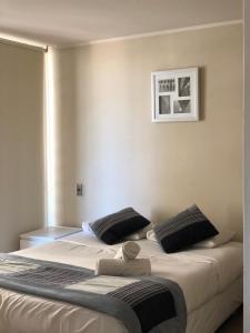 Cama o camas de una habitación en Departamento Centro Santiago-Metro Santa Lucía