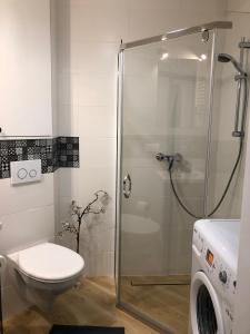 A bathroom at Cichy Apartament w Centrum