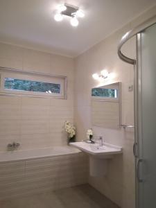 A bathroom at Violetta Vendégház