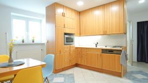 Kuchyň nebo kuchyňský kout v ubytování Apartmány Monty