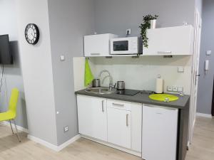 Kuchnia lub aneks kuchenny w obiekcie Kawalerka w kamienicy na Starówce