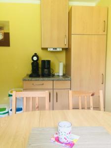 Küche/Küchenzeile in der Unterkunft Ferienhaus am Menzerather Weiher
