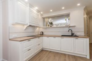 Virtuvė arba virtuvėlė apgyvendinimo įstaigoje Prie Ąžuolo