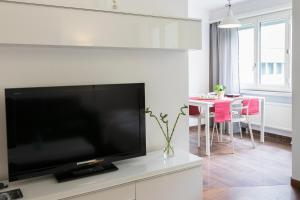 A television and/or entertainment center at New renovated modern furnished apartment downtown