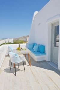 A balcony or terrace at Naxian Album villa kaliope with private pool in Naxos