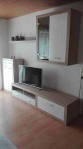 A television and/or entertainment center at Ferienwohnung nahe Ulm/Laupheim