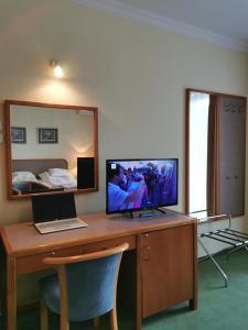 A television and/or entertainment centre at Apartment Pension Rideg Heviz