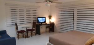 A television and/or entertainment centre at Bubali Villa & Apartments