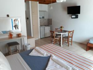 A television and/or entertainment center at Loutro Holidays