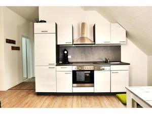 A kitchen or kitchenette at Speedys Gästehaus direkt am Brünnchen