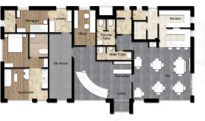 The floor plan of The Dragon's Lair Chalet