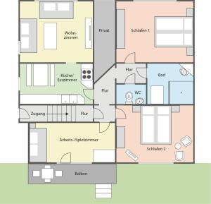The floor plan of Ferienwohnung Blütentraum