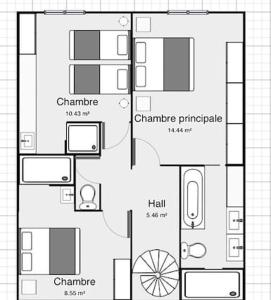 The floor plan of Holiday home Cour Saint-Pierre