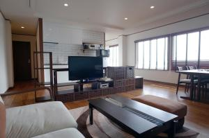 A television and/or entertainment center at La Krasse Angelroad