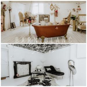 A bathroom at Barn Blanć Studios