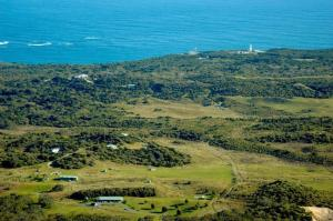 A bird's-eye view of Shearwater Cottages