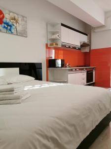 Un pat sau paturi într-o cameră la Palas Apartments
