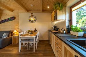 Kuchyň nebo kuchyňský kout v ubytování Apartament Leśny