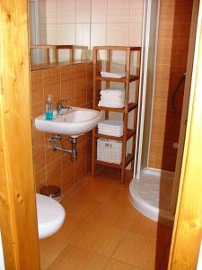 Koupelna v ubytování Apartmány Nové Hutě