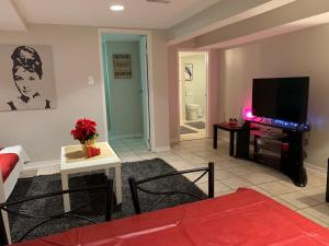 A television and/or entertainment center at Cozy two bedroom apartment 8 min from Pearson Air