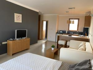 A television and/or entertainment center at Bay Apartments Sozopol