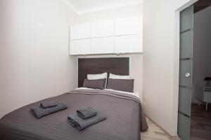Ein Bett oder Betten in einem Zimmer der Unterkunft Madach Rooftop Apartment with terrace