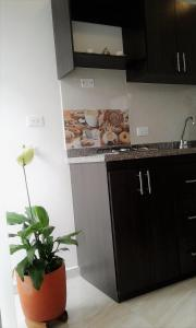 A kitchen or kitchenette at Kalos Meraki ApartaSuites