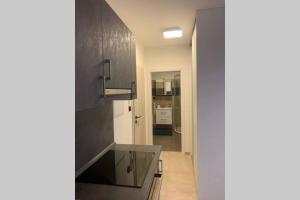 A kitchen or kitchenette at A brand new blue studio, PB Residence Prague