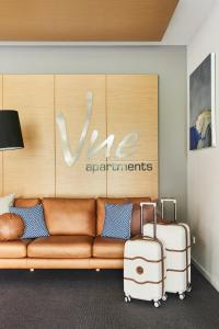 A seating area at Vue Apartments Geelong