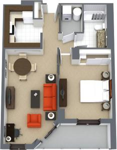 The floor plan of Les Suites Hotel