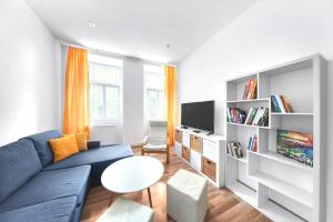 A seating area at PB Apartments