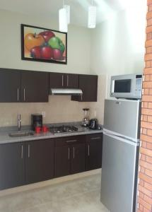 A kitchen or kitchenette at Hotel y Suites Los Encantos