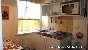 A kitchen or kitchenette at Three Sisters Studio Apartments