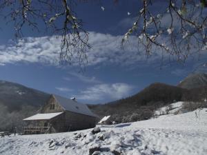 L'établissement Les chalets de la forêt d'Issaux en hiver