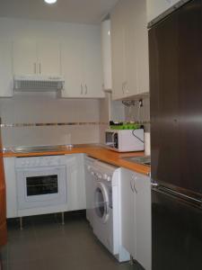 A kitchen or kitchenette at Apartamentos Plaza España Deluxe