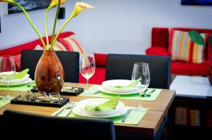 En restaurant eller et andet spisested på Apartment Giuliano Vienna