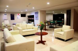 The lobby or reception area at Saint Constantine Hotel