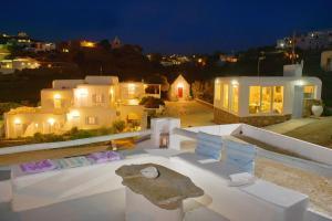 Ein allgemeiner Blick auf Mykonos Stadt oder ein Stadtblick von des Aparthotels aus