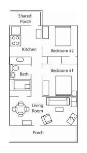 The floor plan of Lakeside Getaway
