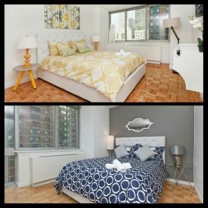 Un pat sau paturi într-o cameră la Luxurious Two Bedroom Apartment in Doorman Building - Lincoln Center