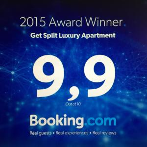 A certificate, award, sign, or other document on display at Get Split Luxury Apartment