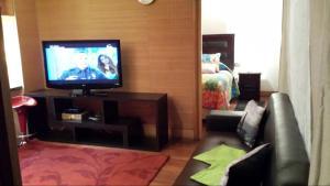 Una televisión o centro de entretenimiento en Aucity Suites