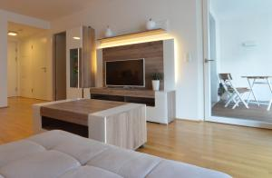 A television and/or entertainment center at Donau-City Strasse 12 Apartment.