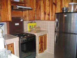 A kitchen or kitchenette at Luxurious Baguio Log Cabin